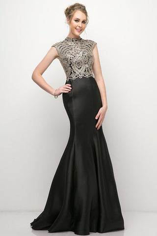 CD8944 BLACK MERMAID GOWN