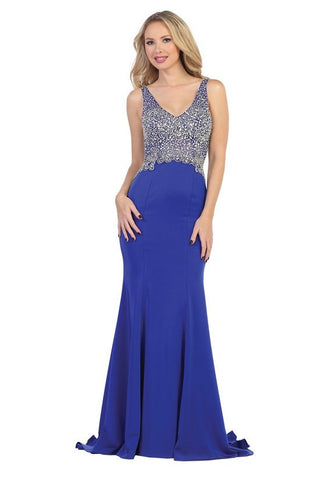 LF7203 BEAED JERSEY GOWN