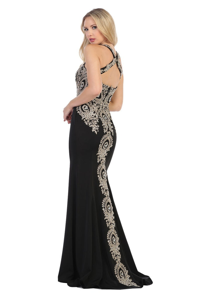 LF7212 EMBROIDERED JERSEY GOWN