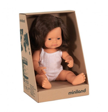 Load image into Gallery viewer, Miniland Doll Caucasian Girl Brunette 38cm
