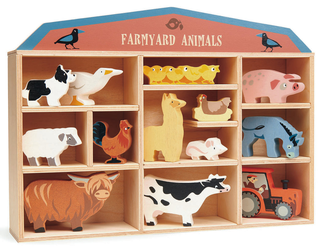 Farmyard Animal Wooden Box Set by Tenderleaf Toys
