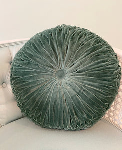 Velvet Round Pillow - Evergreen