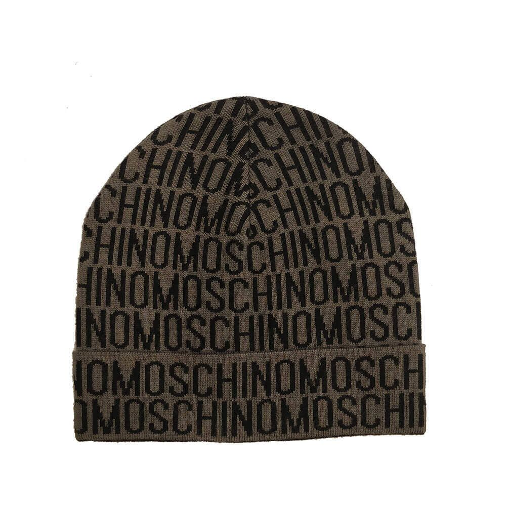 Moschino Wool Logo Hat in Brown/Black