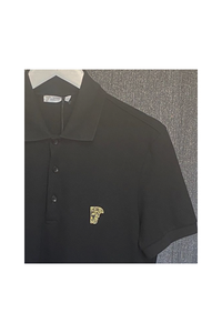 VERSACE COLLECTION - POLO SHIRT HALF MEDUSA LOGO - BLACK