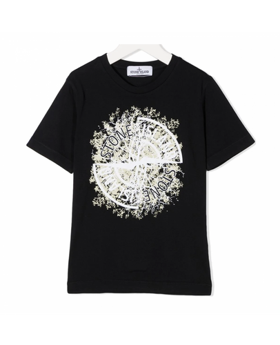 STONE ISLAND JUNIOR LOGO PRINT T-SHIRT IN BALCK