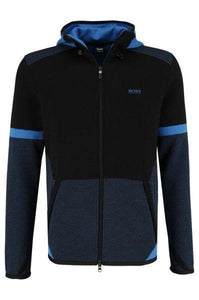 Hugo Boss-SELNIO ZIPPED HOODIE-BLACK / BLUE