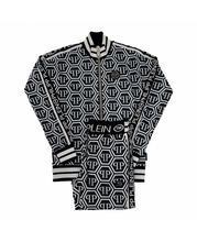 Load image into Gallery viewer, PHILIPP PLEIN-JOGGING JACKET AND TRACKSUIT BOTTOM SET , PP ALL OVER-WHITE / BLACK