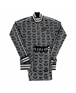 PHILIPP PLEIN-JOGGING JACKET AND TRACKSUIT BOTTOM SET , PP ALL OVER-WHITE / BLACK