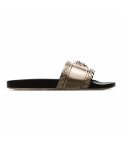 VERSACE PALAZZO MEDUSA SLIDERS - GOLD AND BLACK