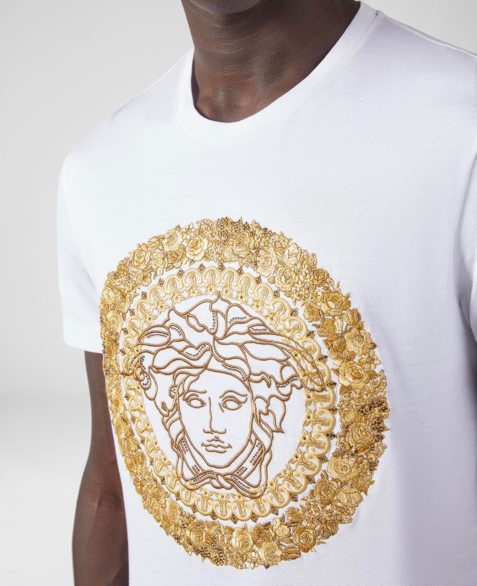 VERSACE - EMBROIDERED MEDUSA - WHITE / GOLD