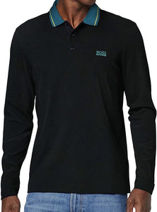 Hugo Boss-LONG SLEEVE POLO SHIRT-BLACK AND BLUE