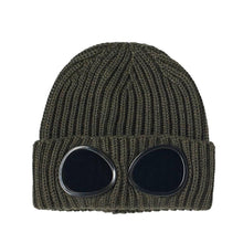 Load image into Gallery viewer, CP Company Khaki Knit Goggle Beanie