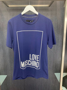 LOVE MOSCHINO - 3D PRINT LOGO T-SHIRT - BLUE