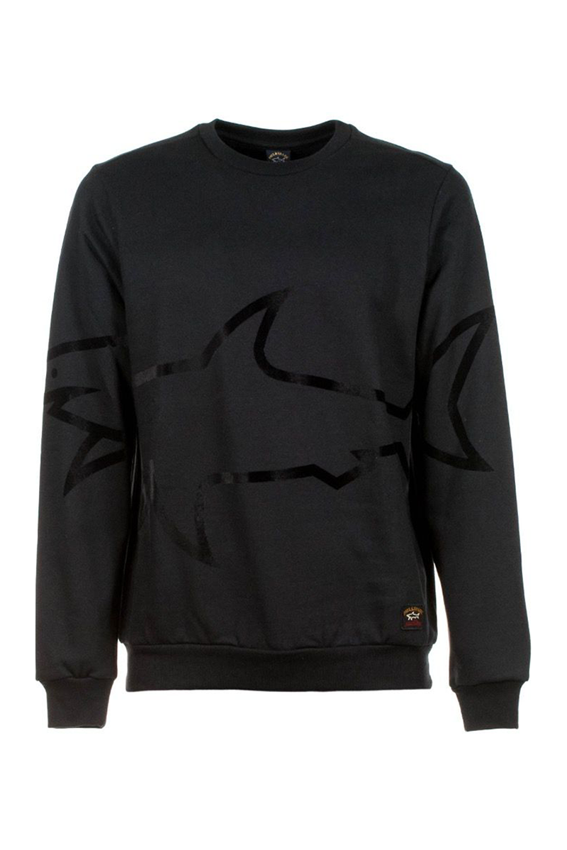 PAUL & SHARK SWEATER LARGE SHARK FABRIC PRINT-BLACK