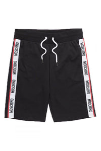 MOSCHINO SIDE TAPE SHORTS IN BLACK
