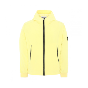 STONE ISLAND SOFT SHELL HOODED JACKET IN YELLOW