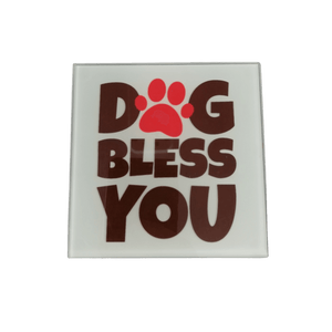 Dog Bless You Glass Coaster