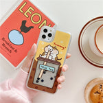 Cute Emergency Quicksand Rabbit And Milk Tea iPhone Case