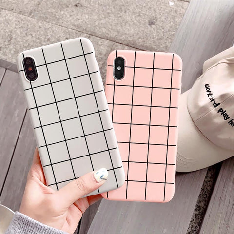 Soft Candy Square Grid iPhone Case