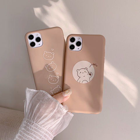 Cute Emergency Hi Bear Couple iPhone Case