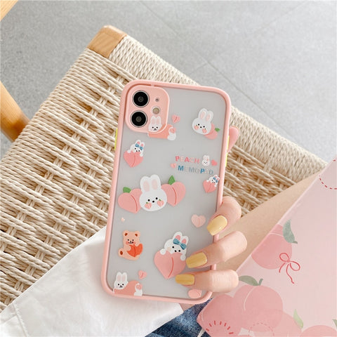 Cute Emergency Rabbit Peach Camera Protection iPhone Case