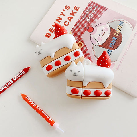 Cute Emergency Strawberry Cake Cat Case For AirPods 1 2 Pro 3