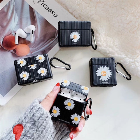 Black & Daisy Case For Airpods 1 2 Pro 3