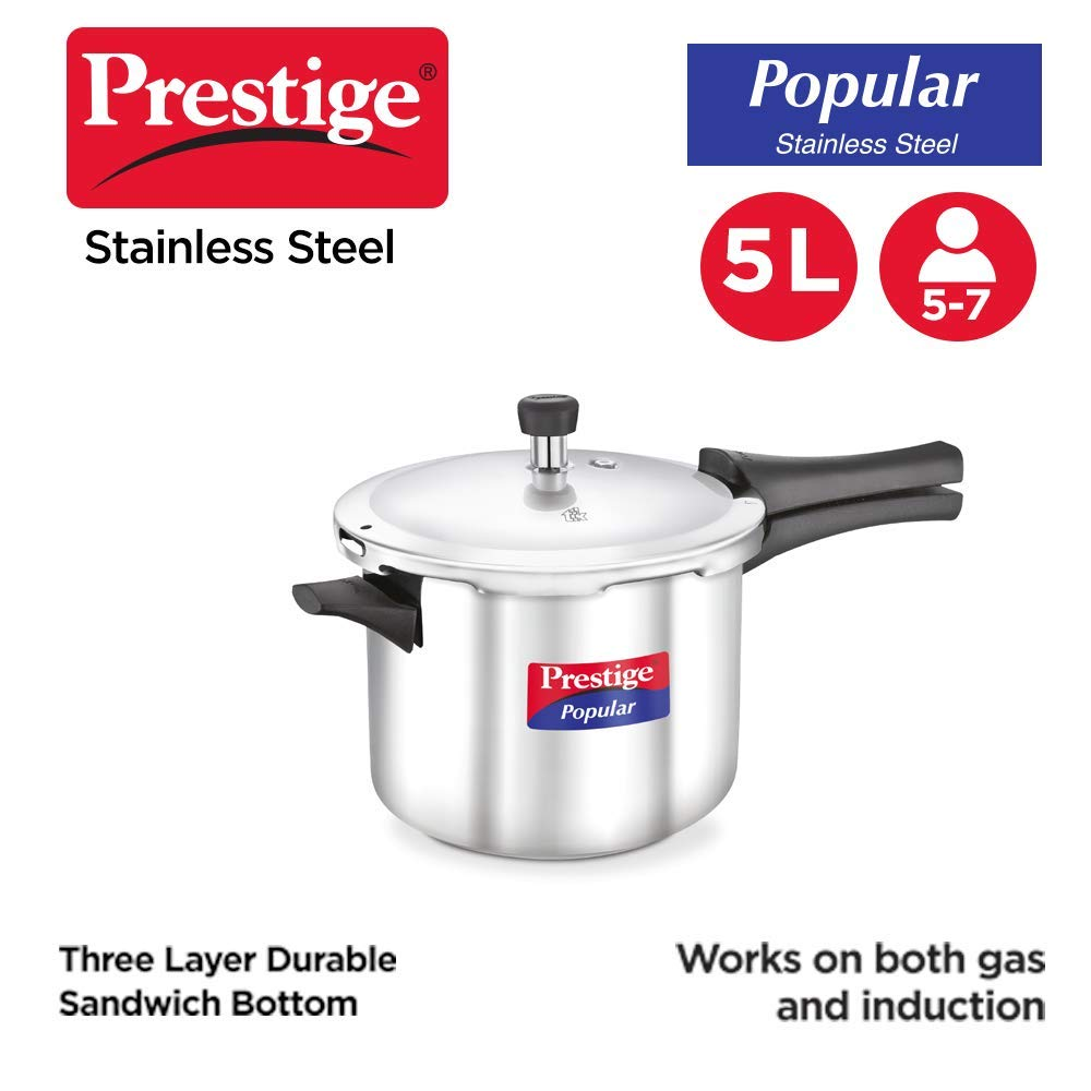 Prestige Popular Induction Base Stainless Steel Pressure Cooker, 5 Liters, Silver