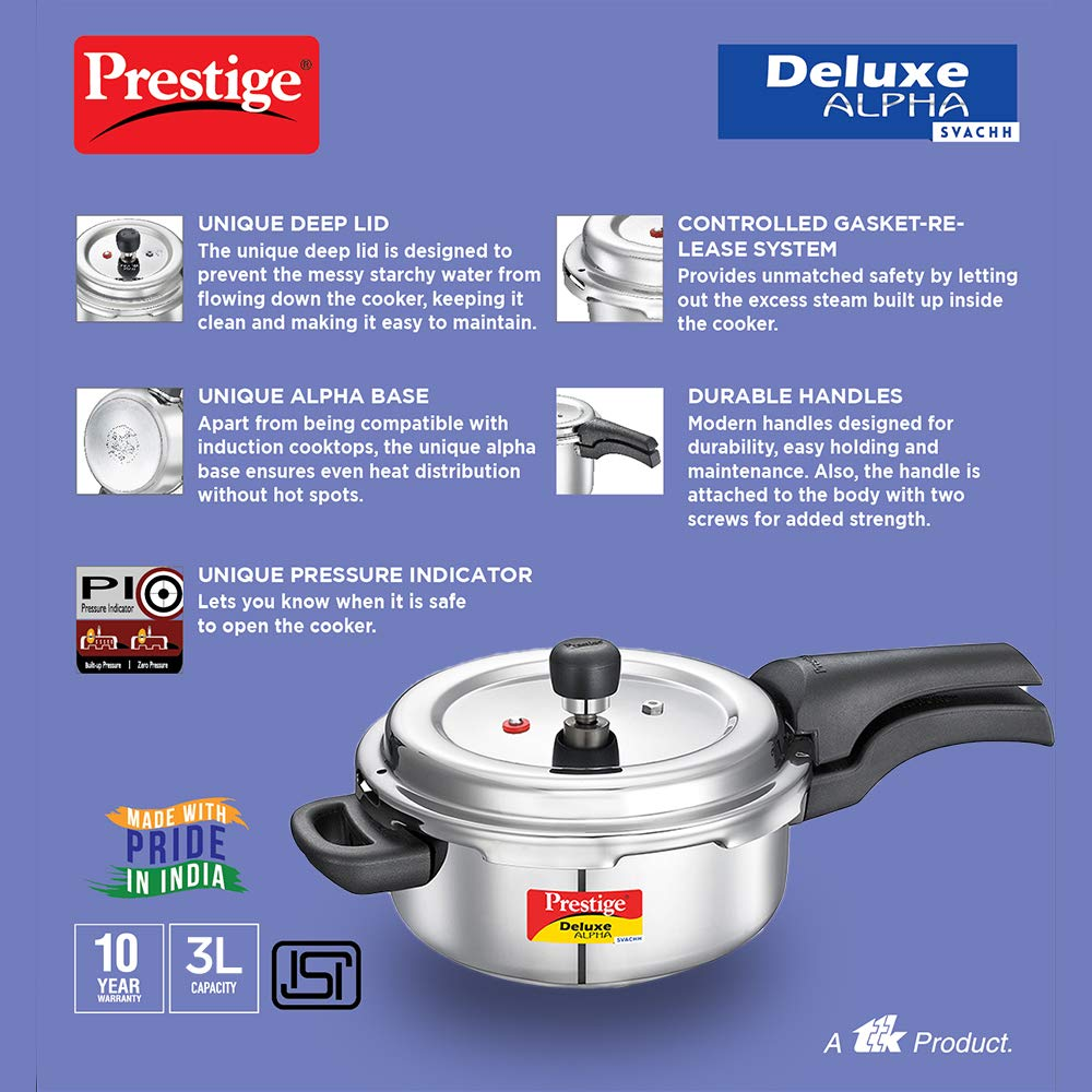 Load image into Gallery viewer, Prestige Svachh Deluxe Alpha 3.0 Litre Stainless Steel Pressure Cooker