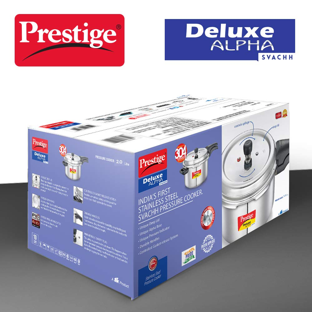 Load image into Gallery viewer, Prestige Svachh Deluxe Alpha 2.0 Litre Stainless Steel Pressure Cooker