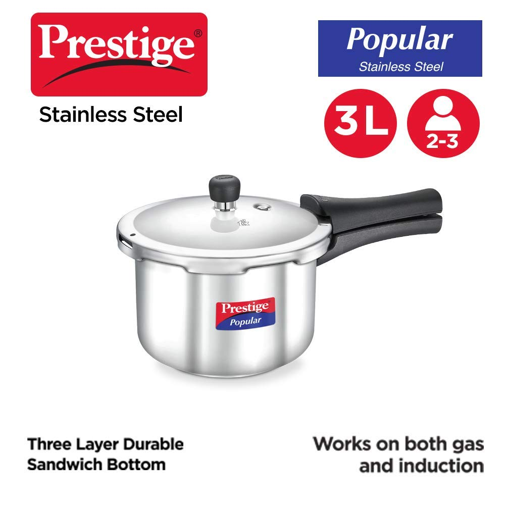 Prestige Popular Stainless Steel Pressure Cooker, 3 Litres, Silver
