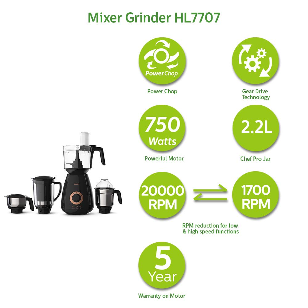Load image into Gallery viewer, Philips HL7707/00 750-Watt Mixer Grinder With 4 jars