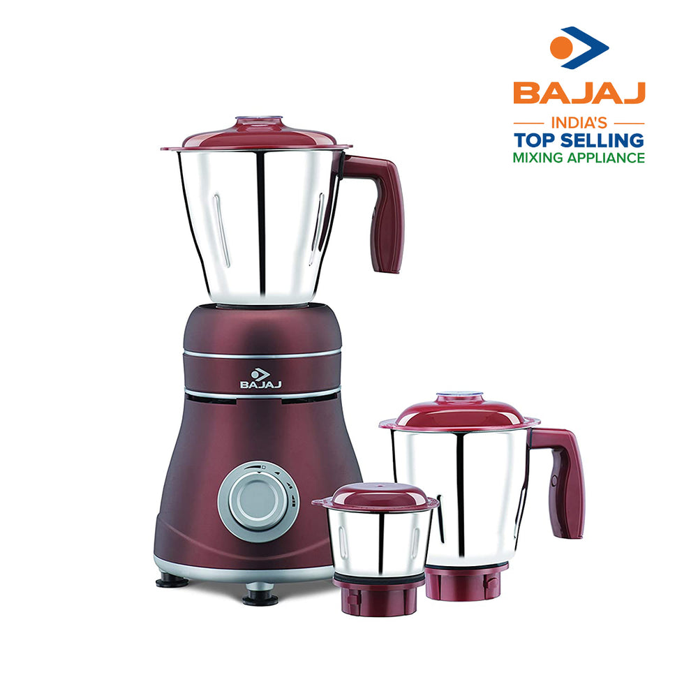 Bajaj Ivora Crimson Red 800 Watts, 3 Jar Mixer Grinder with Anti-Germ & Anti-Dust Coating