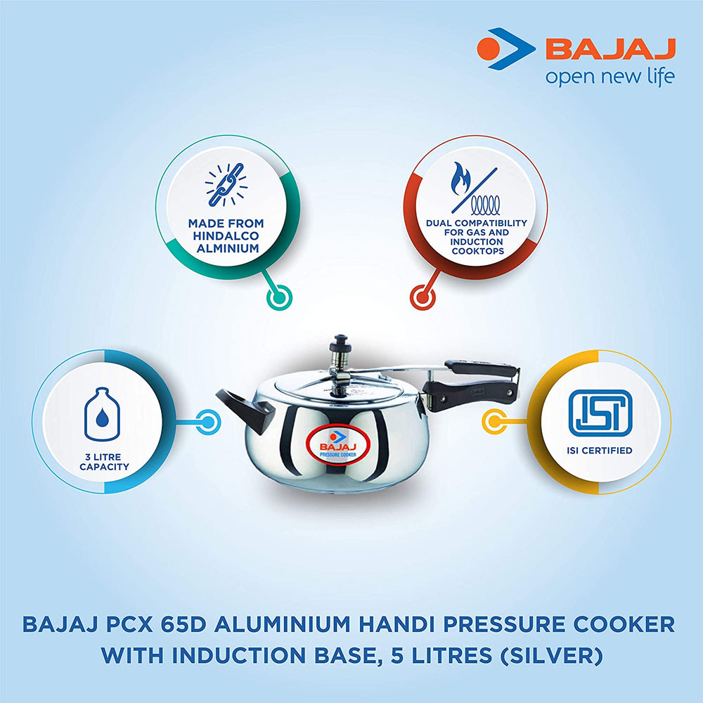 Bajaj PCX 65D Aluminium Handi Pressure Cooker with Induction Base, 5 litres (Silver)