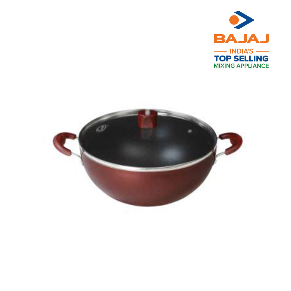 Nirlep Selec+ 3 Ltr 24 Cm Non Stick Induction Deep Kadhai with Lid 2.6 mm
