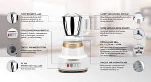 Load image into Gallery viewer, Panasonic mx ac 325 MARBLE GOLD 600 Juicer Mixer Grinder (Gold, 3 Jars)