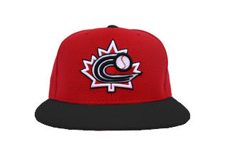 Baseball Canada Low Profile Fitted Diamond Era cap-  Red with Black brim|Baseball Canada Ajustée profile bas Casquette Diamond Era Rouge aver palette noire