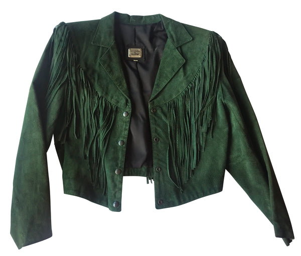 Green Suede Fringed Jacket worn by Melinda Schneider