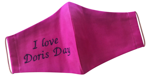 Lolly Pink 'I love Doris Day' Mask (embroidered)