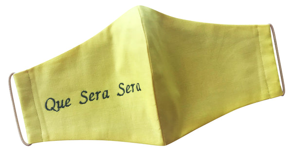 Canary Yellow Que Sera Sera Mask (embroidered)