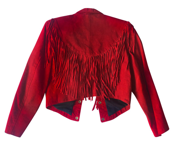 Red Suede Fringed Jacket worn by Mary Schneider & Melinda Schneider