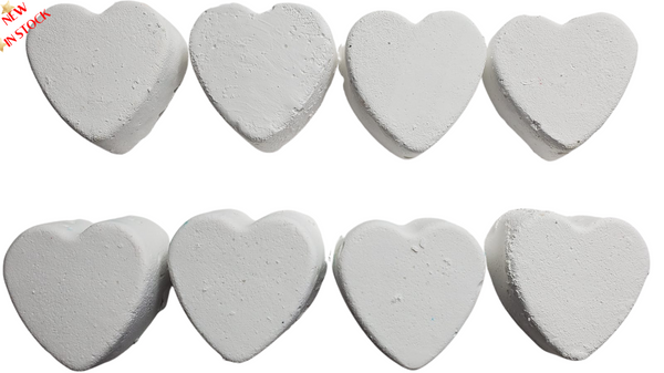 8pcs White Chalk Hearts