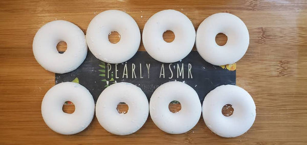 8 White  Chalk Donuts