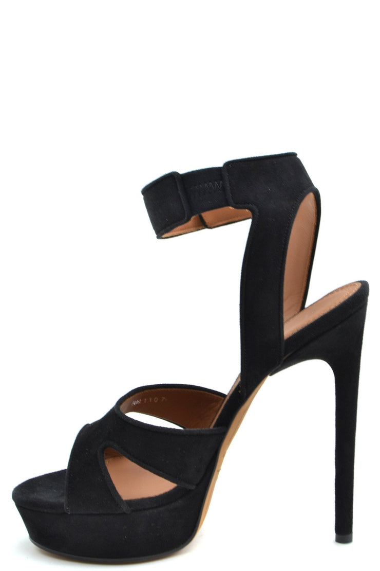 Givenchy Women's Open Toe Suede Shoes - Black