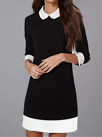 Black Shawl Collar Paneled Casual Plain Dresses