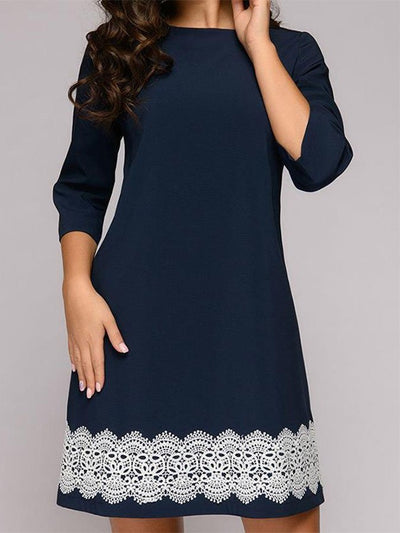 Purplish Blue A-Line Casual Floral 3/4 Sleeve Dresses