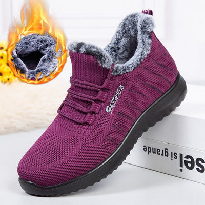 Women Winter Warm Round Toe Slip On Ankle Boots