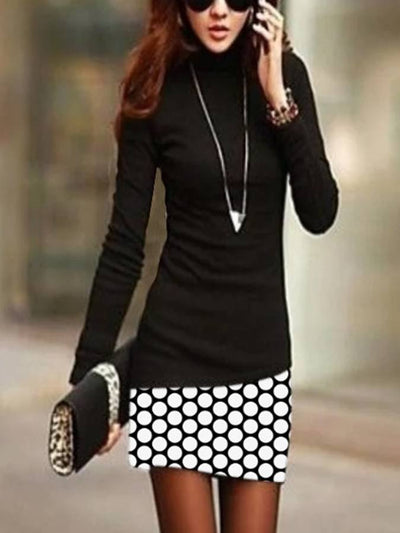 Black Sexy Cotton-Blend Patchwork Turtleneck Dresses