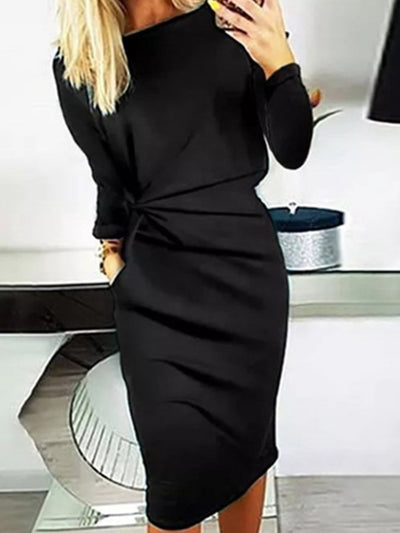 Black Sheath Crew Neck Long Sleeve Plain Dresses