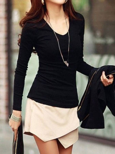 Black Long Sleeve Bodycon Casual Dresses